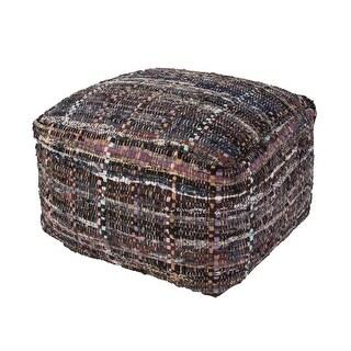 "22"" Chocolate Brown, Black, & Multi-Colored Moroccan Stripe Pattern Rectangular Cotton Pouf Ottoman"