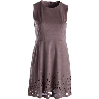 Elie Tahari Womens Ophelia Faux Suede Cut-Out Casual Dress