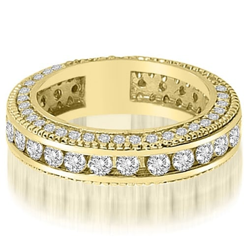 2.00 cttw. 14K Yellow Gold Round Channel and Prong Diamond Eternity Ring