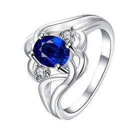 Mock Sapphire Spiral Quad Design Classic Ring