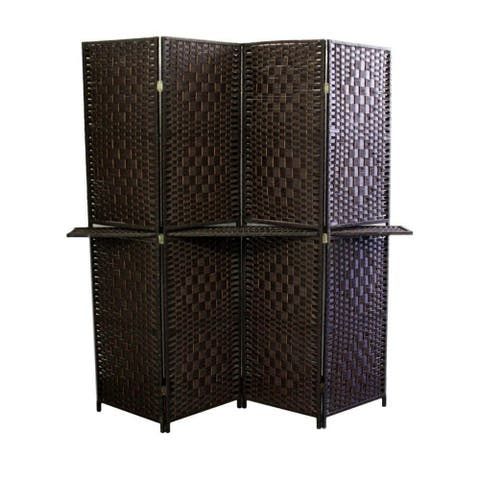 Wood and Paper Straw Textured 4 Panel Screen with Shelf, Brown - 70.75 H x 1 W x 70.5 L Inches