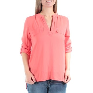 Womens Coral Short Sleeve V Neck Hi-Lo Top Size M