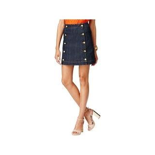 MICHAEL Michael Kors Womens Petites Mini Skirt Denim Embellished