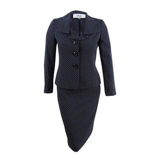 Le Suit Women's Dot-Print Ruffle-Collar Skirt Suit - BLACK/WHITE