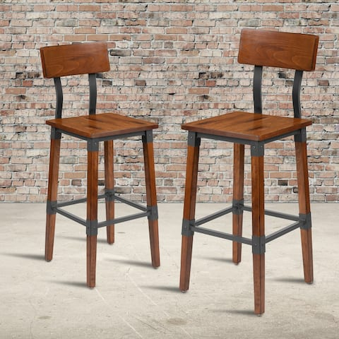 2 Pack Commercial Grade Rustic Industrial Style Wood Dining Barstool