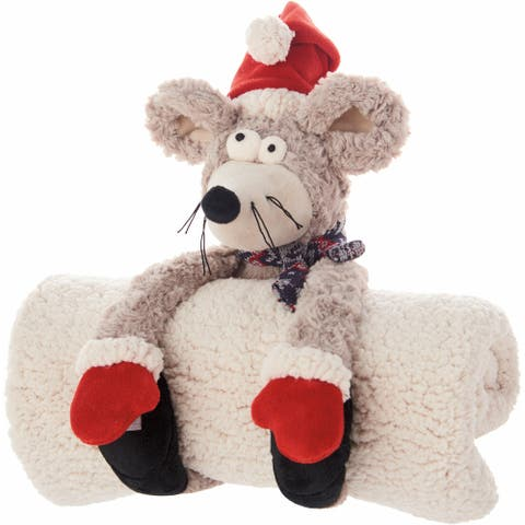 """Mina Victory Plushlines Grey Holiday Mouse with Removable Blanket Plush Animal 1'1"""" x 1'5"""""""