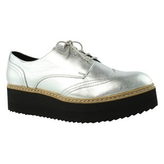 Shellys London Womens Tommy Silver Oxfords Size 8.5