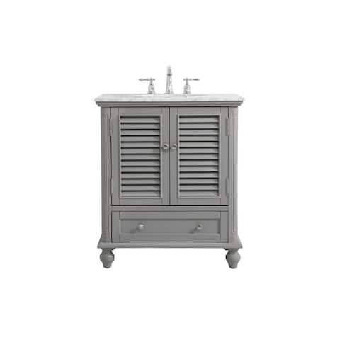 Rockland Coastal Bathroom Vanity Cabinet Set with Marble Top