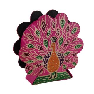 Colorful Embossed Leather Peacock Shaped Coin Bank