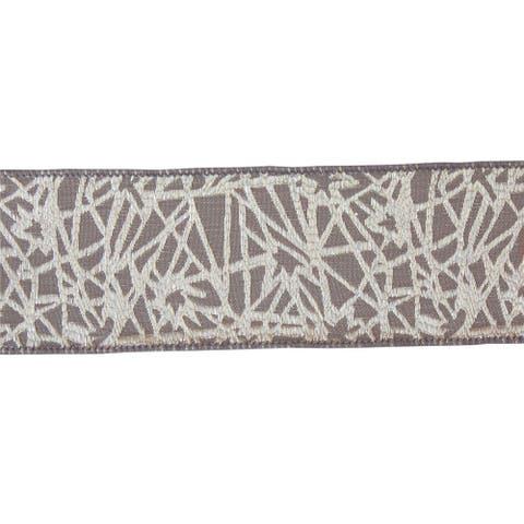 Set of 4 Gray and White Geometric Pattern Ribbon 30'