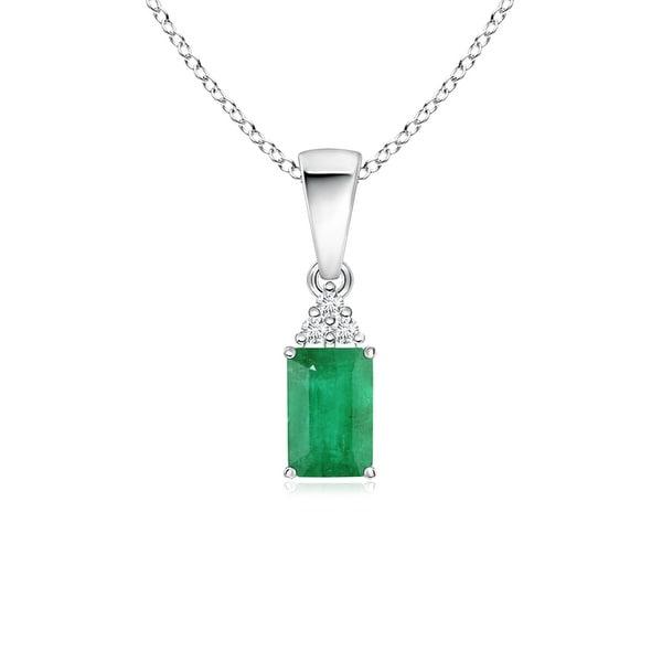 Angara Emerald Cross Necklace in Platinum, Prong Setting