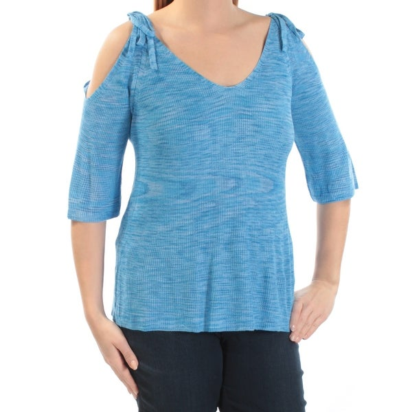 TOMMY HILFIGER Womens Blue Cut Out Textured Short Sleeve Scoop Neck Top Size: S