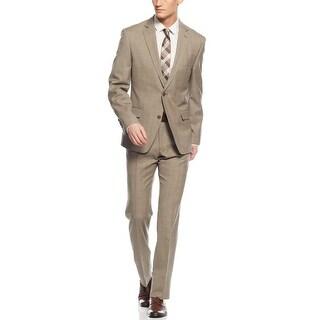 Tallia Orange Slim Fit Tan Glen Plaid Wool Suit 36 Regular 36R Pants 29W