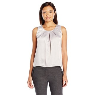 Kasper Petite Solid Pleat Neck Blouse Shell - pxl
