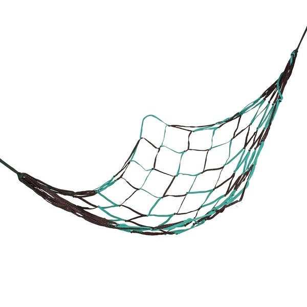 "Unique Bargains Camping Mesh Net Sleeping Bed Teal Green Coffee Color Nylon Hammock 75"" x 28"""