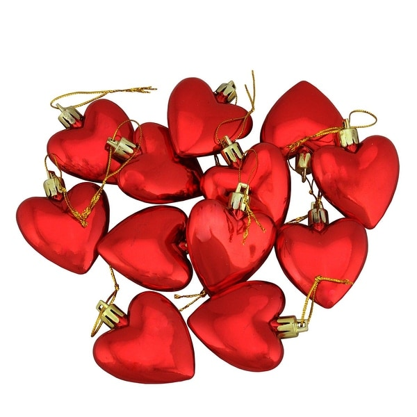 """12ct Valentines Day Red Shatterproof Heart Christmas Ornaments 2"""""""