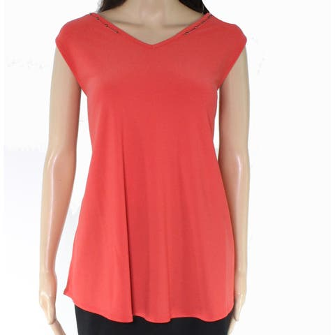 Alfani Women's Blouse Orange Size Medium M Tank Beaded V-Neck Cutout