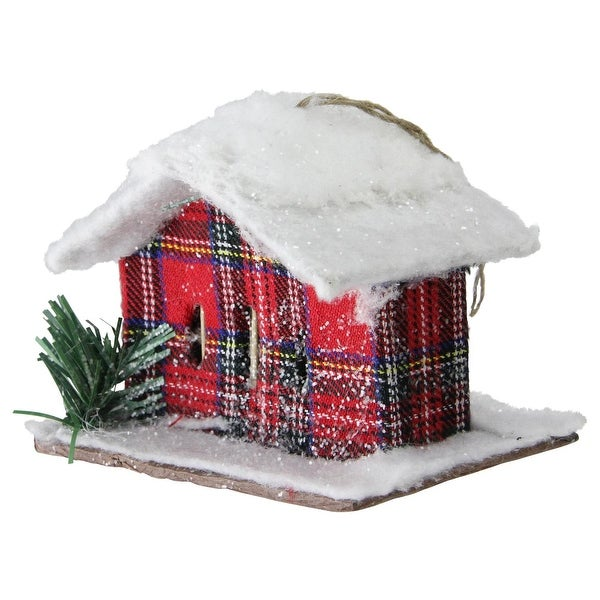 "4.25"" Holiday Moments Classic Red Plaid Snow Covered Cabin Christmas Ornament"