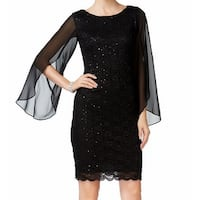 Connected Apparel Black Womens Size 6 Sequin Lace Sheath Dress