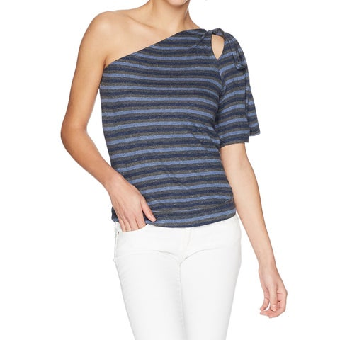 Lucky Brand Blue Womens Size Medium M Striped One Shoulder Top