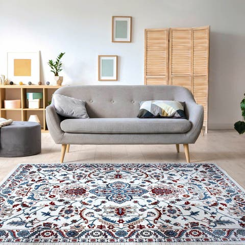 Tranditional White Area Rug Floral Print Carpet Rug