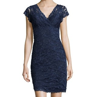 MARINA NEW Blue Women's 2 Floral Lace Sequined V-Neck Tiered Dress