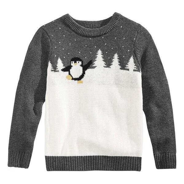 celebrate shop kids charcoal penguin crewneck christmas sweater x small xs