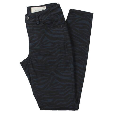 Vince Camuto Womens Skinny Jeans Denim Zebra Print - Rich Black