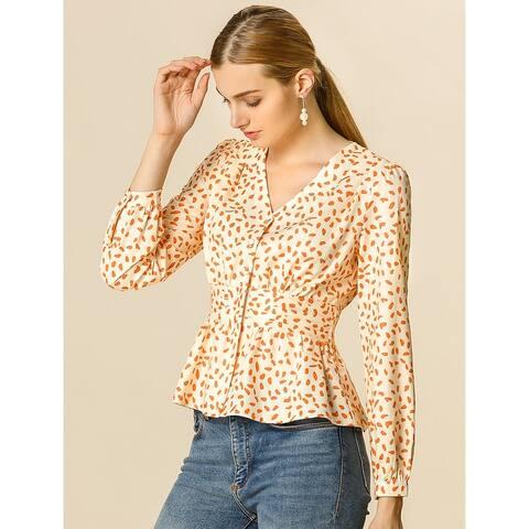 Women's Vintage Dots V Neck Blouse Smocked Ruched Peplum Top - Beige