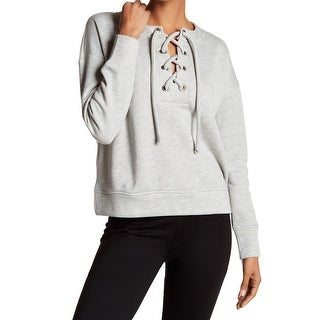 Harlowe & Graham NEW Gray Womens Size Medium M Lace-Up Pullover Sweater