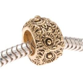 22K Gold Plated Large Hole Bead - Owl Eyes - European Style (1)