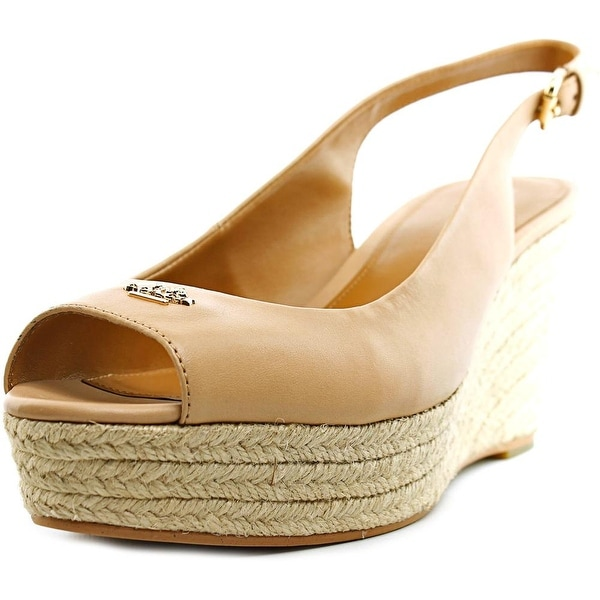Coach Ferry Women Open Toe Patent Leather Nude Wedge Sandal