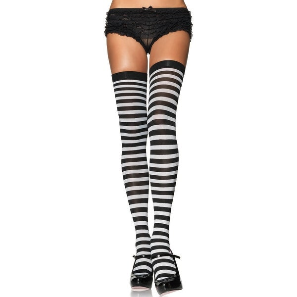 0bfeee98ff8 Shop Plus Size Black And White Thigh High Stockings - Black White - Queen  Size - Free Shipping On Orders Over  45 - Overstock - 18009381