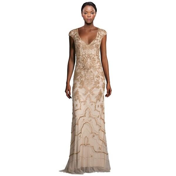 Shop Theia Beaded Cap Sleeve V-Neck Evening Gown Dress Ochre - Free ...