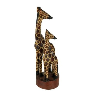 Hand Crafted Wood Standing Giraffe Family Statue - 11.5 X 4 X 3.5 inches