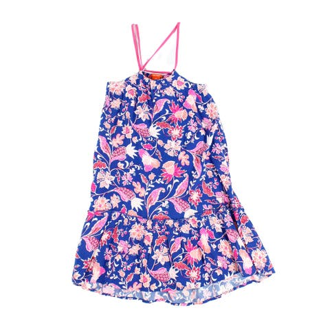 Joe Fresh Blue Pink Size Small S Floral Printed Sleeveless Dress