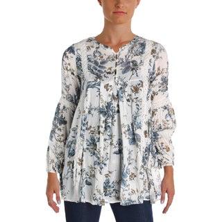 Denim & Supply Ralph Lauren Womens Tunic Top Floral-Print Lace Inset - xs