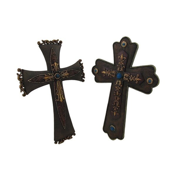 Leather and Brass Look Decorative Antique Style Wall Cross Set of 2 ...