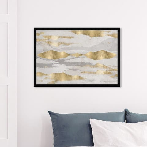 Oliver Gal 'Mountains Of Life' Abstract Wall Art Framed Print Textures - Gold, Gray