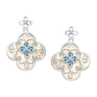 Natural Mother-of-Pearl and 5/8 ct Sapphire Clover Drop Earrings with 1/10 ct Diamonds in 14K White Gold