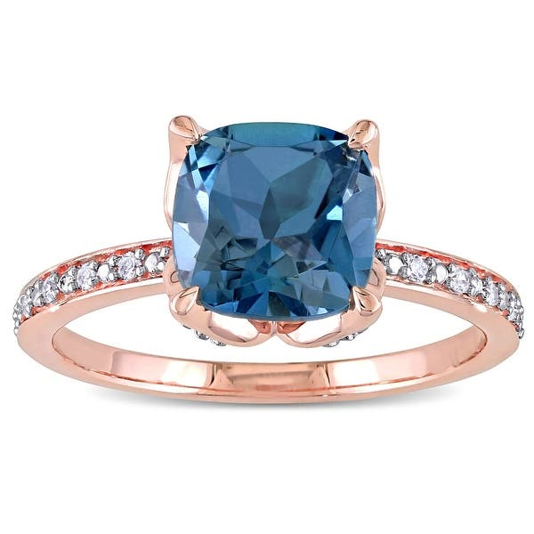 Quantum cut R005 LONDON BLUE TOPAZ 10KY ou 14KY or femme Bague-Fabriqué à la main