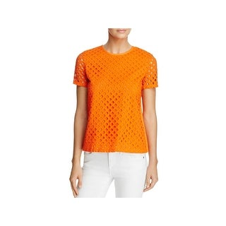 Tory Burch Womens Hermosa Casual Top Eyelet Short Sleeve