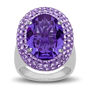 Crystaluxe Ring with Purple Swarovski Crystals in Sterling Silver - Size 7