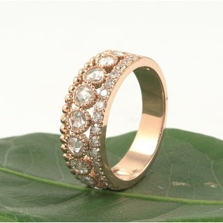 18kt Rose Gold 0.87 Bezel-Set Rose and Full Cut Diamond Wedding Band 0.87 CT.TW