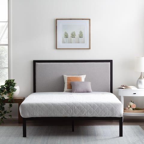 Brookside Mara Metal Platform Bed Frame with Upholstered Headboard