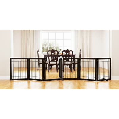 PAWLAND-6 Panels,30 Inch,Dog Gate, Freestanding Foldable Wire Pet Gate, Safety Gate Fence, Support Feet Included