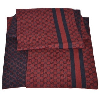 Gucci Men's 438253 Burgundy Red Wool Web Stripe GG Guccissima Scarf Muffler