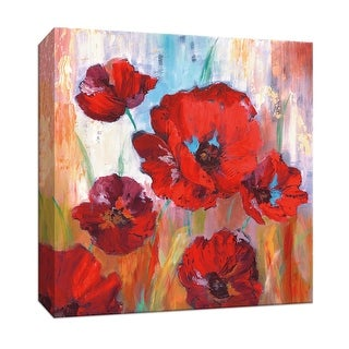 """PTM Images 9-147038  PTM Canvas Collection 12"""" x 12"""" - """"Ruby Poppies I"""" Giclee Flowers Art Print on Canvas"""
