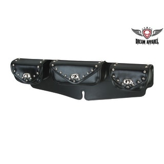 Leather Motorcycle Windshield Bag With Studs