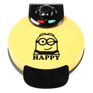 """Uncanny Brands Minions Waffle Maker - Non-Stick Electric Waffle Iron Fun Kitchen Appliance in """"Dave"""" Yellow"""